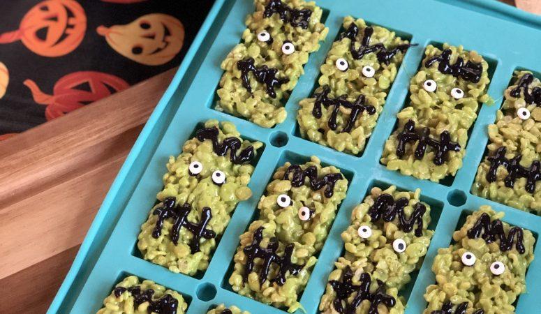 Frankenstein Crispy Marshmallow Bars
