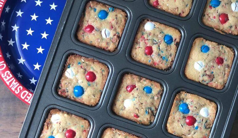 Patriotic Peanut Butter Blondies